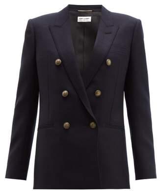 Saint Laurent Double Breasted Wool Blazer - Womens - Dark Navy