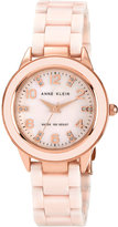 Anne Klein Women's Round Light Pink Ceramic Quartz Watch