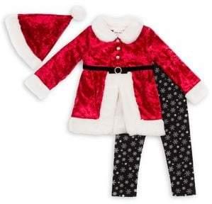 Little Lass Little Girl's 3-Piece Faux Fur Santa Top, Leggings & Hat Set