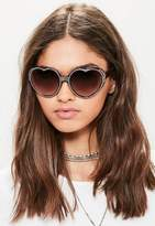 Missguided Brown Diamante Studded Heart Sunglasses, Black