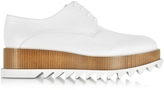 Jil Sander White Leather Platform Lace-up Shoe