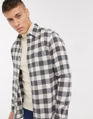 Asos DESIGN regular fit gingham check shirt in gray flannel