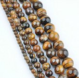 Lucalee International New Tiger Eye Round Natural Stone Loose Beads For DIY Jewelry Making Bracelet Strand 4/6/8/10/ About 30 pieces/lot