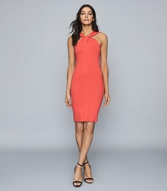 Reiss SAWYER TWIST-NECK BODYCON DRESS Red