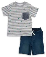 Kids Headquarters Two-Piece Printed Crewneck Tee and Chambray Shorts Set