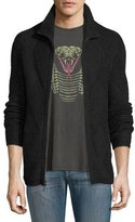 John Varvatos Funnel-Neck Front-Zip Sweater, Charcoal Heather