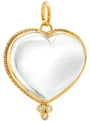 Temple St. Clair 18K Yellow Gold, Diamond & Rock Crystal Braided Heart Large Pendant