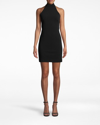 Nicole Miller Structured Heavy Jersey Mock Neck Mini Dress