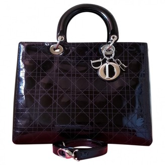 Christian Dior Lady Black Patent leather Handbags