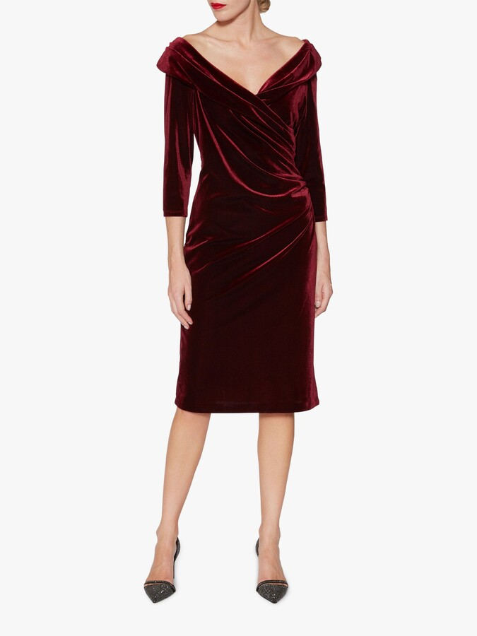 Thumbnail for your product : Gina Bacconi Bridget Velvet Midi Dress