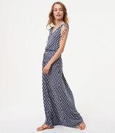 LOFT Ikat Cinched Shoulder Maxi Dress