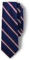 Lands' End Men's Long Silk Narrow Multi Stripe Necktie-Dark Bay Blue Multi Stripe