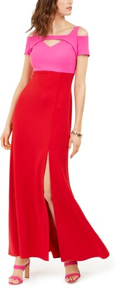 Nightway Colorblocked Cold-Shoulder Gown