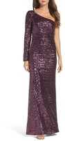 Vince Camuto Women's Ruched Sequin One-Shoulder Gown