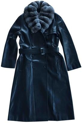 Celine Black Leather Trench coats