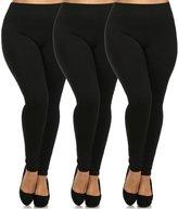 Leggings Mania 3-Pk Plus Size Fleece Lined Thick High Waist Leggings Black Grey