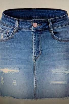 Factory Unknown Distressed Jean Skirt