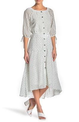 Gabby Skye Front Button Polka Dot High/Low Dress