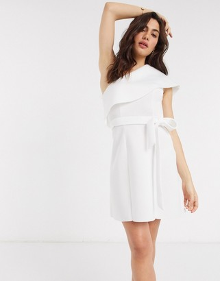 ASOS DESIGN one shoulder crop top belted a-line mini skater dress in ivory