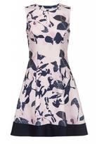 Quiz Pink And Navy Flower Print Keyhole Skater Dress