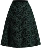 Rochas Floral-embroidered velvet A-line skirt