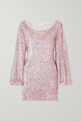 retrofete Tara Open-back Sequined Crocheted Cotton Mini Dress