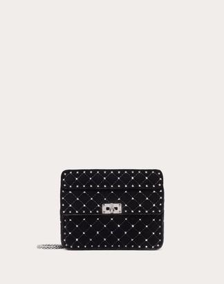 Valentino Medium Spike.it Velvet Chain Bag With Hematite Studs Women Black Viscose 78%, Silk 22% OneSize