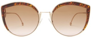 Fendi F Is Oversized Cat-eye Metal Sunglasses - Bronze