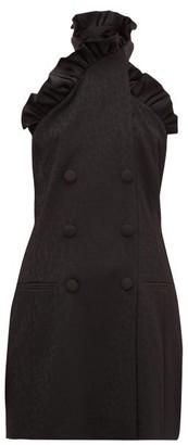 Dundas Ruffled Leopard-jacquard Wool-blend Mini Dress - Black