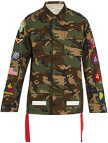 Off-White Patch-detail camouflage-print cotton jacket