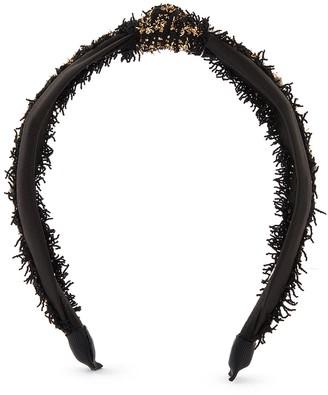 Venna Pearl embellished check tweed headband