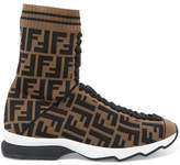 Fendi Logo-jacquard Stretch-knit And Mesh Sneakers - Army green
