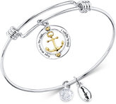 Unwritten Two-Tone Anchor Charm Bangle Bracelet in Gold-Tone, Stainless Steel and Silver-Plate