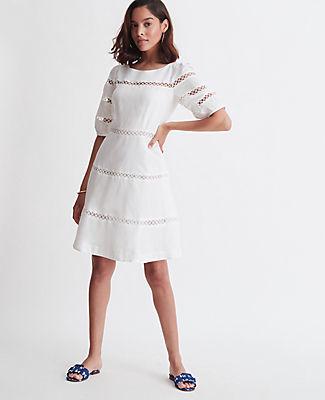 Ann Taylor Circle Lace Trim Flare Dress