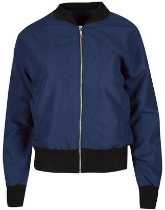 Fashion Star Womens Ladies Baseball Collar Long Sleeve Pockets Layered Rib Bomber Jacket Navy