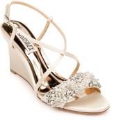 Badgley Mischka Clarisa Crystal-Embellished Satin Wedge Sandals