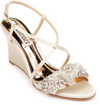 Badgley Mischka Clarisa Crystal-Embellished Satin Wedge Sandals