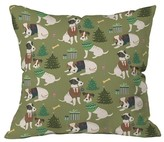 "DENY Designs Christmas Canine Jack Russell Throw Pillow Green (20"" x 20"