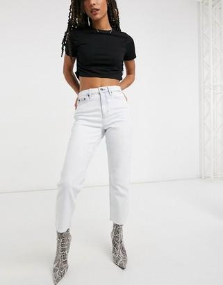 Topshop straight leg jeans in super bleach wash
