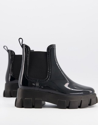 ASOS DESIGN Giana chunky chelsea rain boots in black