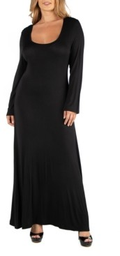 24Seven Comfort Apparel Long Sleeve T-Shirt Plus Size Maxi Dress