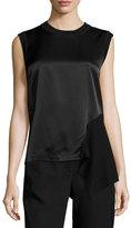 DKNY Sleeveless Mixed-Media Top, Black