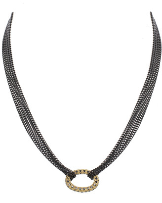 Rachel Reinhardt Gold Over Silver Cz Necklace