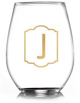 """Jay Import Monogram Gold """"J"""" Stemless Goblets - Set of 4"""