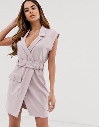 Asos Design DESIGN utility tux belted mini dress-Purple