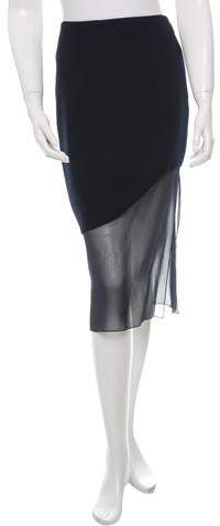 Prabal Gurung Silk-Trimmed Midi Skirt w/ Tags