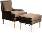 Bunny Williams Home Azure Accent Chair & Ottoman Set - Brown