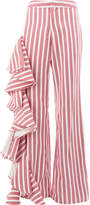 Alexis striped wide leg trousers with draped frill trim