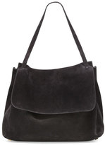 The Row Top-Handle 14 Suede Satchel Bag, Black