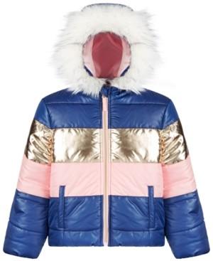 S. Rothschild Toddler Girls Metallic Colorblocked Coat